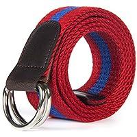 XIANGYINGZHIJIA Cinturón de Lona Correa de Moda Casual Cinturon Deportivo Cinturón de Hombres y Mujeres Cinturón, Rojo 125cm