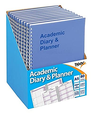 Academic diary 2014-2015 Student Planner wiro spiral A5 week to view diary - BLUE x 1 Single