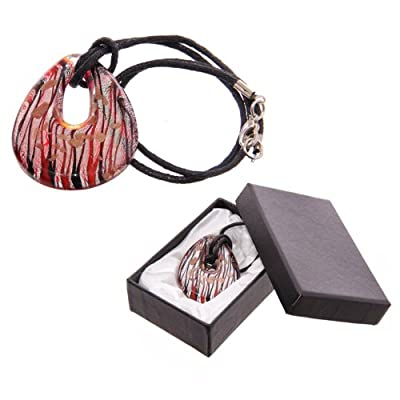 Abstract Silver and Red Looped Glass Pendant Necklace