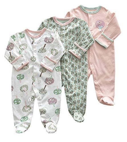 Mornyray Neugeborenes Baby Unisex 3 Pack Baumwolle Footies Romper Cartoon Sleeper Pyjamas (Color : Big Tree Grass, Size : 0-3M)