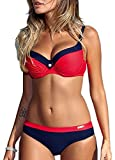 Bikini-Set Damen Elegant Bademode Push Up Zweiteiler Swimsuits Plus Size Badeanzug - Rot-Small