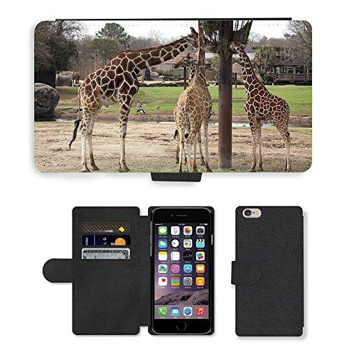 Just Mobile pour Hot Style Téléphone portable étui portefeuille en cuir PU avec fente pour carte//m00139373Girafes repas Biberon Zoo faune//Apple iPhone 6Plus 14cm