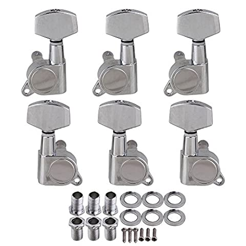 BQLZR Chrome Acoustic Guitar Tuning Pegs Tuners Keys Machine Heads 3L3R