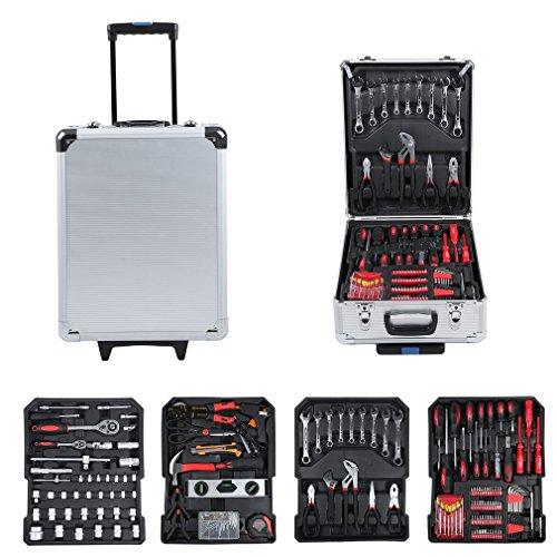 Hehilark Multi Haushalts-Werkzeugkoffer Alu Werkzeugkoffer Werkzeugkasten Werkzeugkiste 899 tlg 4 Ebenen mit Werkzeug,Werkzeugbox Trolley bestückt für Garage Auto Garten