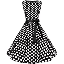 Bbonlinedress 50s Vestidos Vintage Retro Rockabilly Clásico Black White Big Dot 2XL
