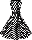 bbonlinedress 50s Retro Schwingen Vintage Rockabilly Kleid Faltenrock Black White Big Dot 3XL