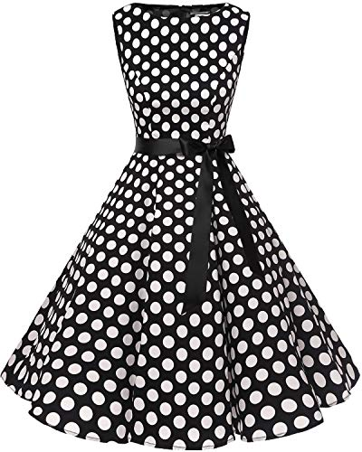0a8ed301a6eb6d Bbonlinedress Women's Retro 1950s Vintage Swing Rockabilly Party Cocktail  Dress Black White BDot XL