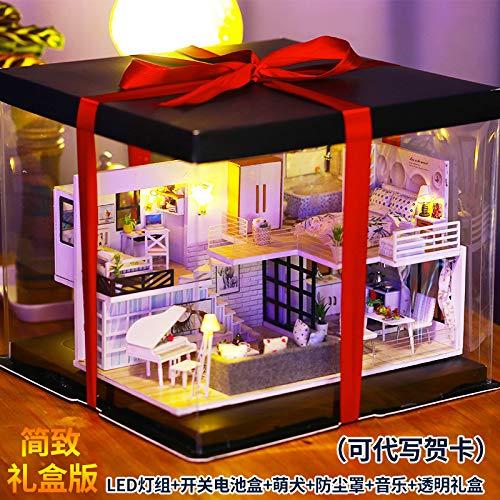 GGsmd DIY Spielzeug DIY Handgemachte Loft Coched Hütte Machen Kleines Haus Modell Villa Chinesischen Wind Einfache Werkzeugkleber,Led-Licht,Staubabdeckung,Musik,Transparente Geschenkbox Box-Edition (Halloween-kostüm-ideen, Farbe Edition)