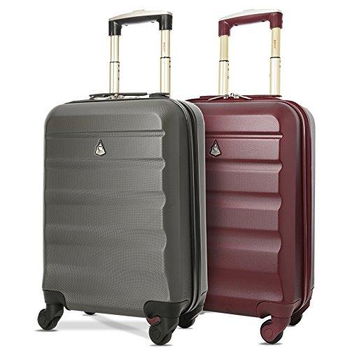 Aerolite ABS Trolley Bagaglio a Mano Valigia Rigida Leggera con 4 Ruote , Approvata per Ryanair , Easyjet , Alitalia , Lufthansa , Swiss e Molte Altre , Grigio Carbone + Vino Rosso