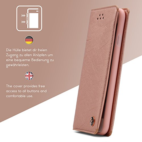 Urcover® Apple iPhone 6 / 6s Gentlemen Series Handy Schutz-Hülle mit KARTENFACH in Rose Gold Handy-Tasche stylische Handyhülle Flip Cover Book Style Case Wallet Etui klappbar Schale Rose Gold