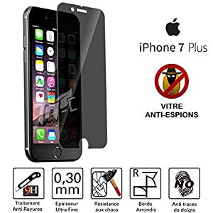 TM-Concept® Film / Vitre de protection teintée Anti-Espions - Apple iPhone 7 Plus - Verre Trempé Privacy HQ ultra résistant (contre la casse & les rayures) - Ultra Slim (0,30mm) avec bords arrondis - Installation facile et sans bulle d'air - Protection et