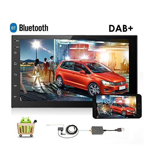 podofo Android Autoradio Doppel Din Autoradio DAB 17,8cm in Touchscreen GPS Navigation Spiegel Link-INDASH DVD-Player FM/AM Hände Frei Calling AUX/FM/USB/MP4/MP3