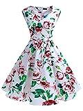 IVNIS RS90011 Damen Vintage Rockabilly Semi Feste Gürtel Kleider Swing V Ausschnitt Kleid mit Taschen White Flower S
