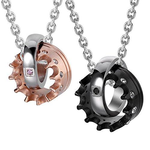 Set di collane, con ciondolo, per lui e per lei, motivo: corone, regalo per san valentino, lunghezza 48,3e 53,4 cm, colori: nero/oro rosa