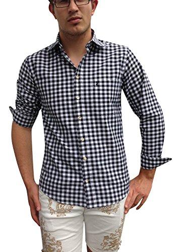 Trachtenhemden Herren Hemden Shirt Freizeithemden Business Hochzeit Schwarz-Weiß Karo Baumwolle(L)