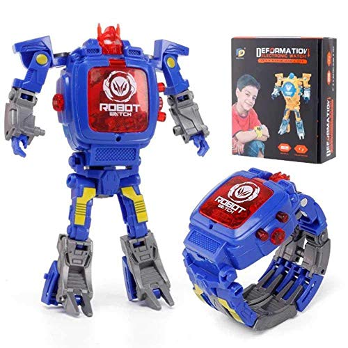 CWeep Transform Toys Robot Watch, 2 in 1 Kids Digital Electronic Deformation Watch Bots Toys,Creative Educational Learning Xmas Toys for 3-12 Years Old Boys Girls Gifts Transform (Blue)