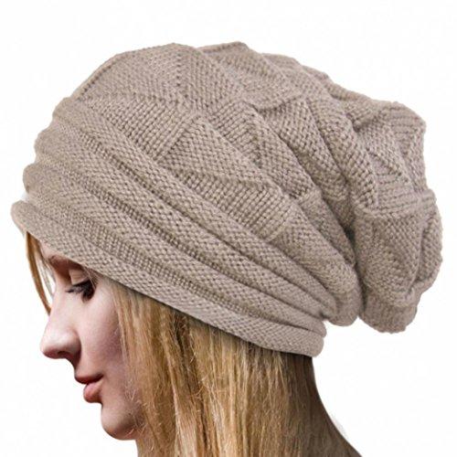 Casquettes Souples,Longra Femmes Hiver Chapeau à Crochet Casquettes en Laine (Beige)