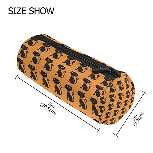 coosun Ägyptische Katzen Bleistift Fall Zylinder Form Stift Stationery Tasche Bag Kosmetik Make-up Tasche M Halloween Black Cats Pattern