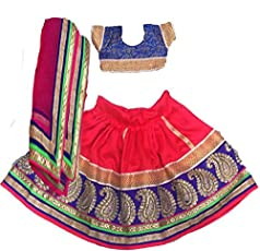 Aglare Girl's Brocade and Georgette Fully Stitched Lehenga Choli