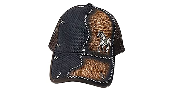 Modestone Western Ball Cap Metal Galloping Horse Black  Amazon.co.uk   Clothing 2331487c4e17