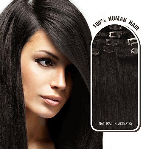 Clip In/on Echthaar Extensions 7 Pieces(pcs), 70g, Glatt #1b Natural Black (Snooki Hair)