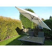 UK-jardines grande 2,7 m manivela Beige e inclinable de paraguas sombrilla de jardín - 270 cm de ancho x H243cm - barra de aluminio ancho 38 mm
