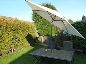 Uk gardens large cream crank and tilt garden parasol umbrella 270cm wi - Parasol de jardin rectangulaire ...