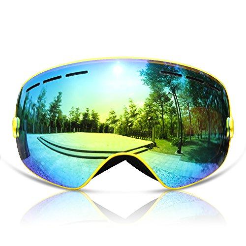 GANZTON Skibrille Snowboard Brille Doppel-Objektiv UV-Schutz Anti-Fog Skibrille Für Damen Und Herren Jungen Und Mädchen Gelb (Gelbe Snowboard-schutzbrillen)