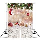 AIIKES 5x7FT/1,5Mx2,1M Weihnachten Ball Holzböden Fotografie Hintergrund Vinyl Neugeborenes Foto Hintergrund Studio Prop Baby Kinder Foto Hintergrund 10-825