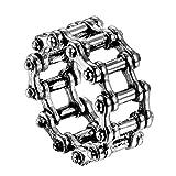 JewelryWe Schmuck Biker Herren-Ring Edelstahl Fahrrad Kette Punk Rock Motorrad-Style Band Ring Silber - Größe 57