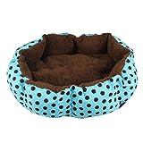 Ularma Weichem Fleece Haustier Hund Katze Warmes Bett Plüsch Gemütliches Hundebett Welpen (Blau)