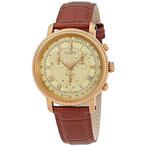 Charmex Men's President II 42mm Brown Leather Band Quartz Analog Watch 2987