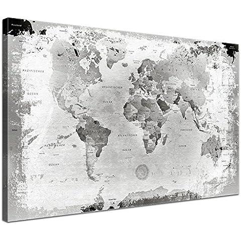 LanaKK - Planisfero da parete effetto vintage con dorso in sughero e pregiata tela stampata su telaio, colore: Grigio chiaro 100 x 70 cm, 1 pezzo grigio