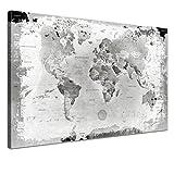 LANA KK - Weltkarte Leinwandbild mit Korkrückwand zum pinnen der Reiseziele - 'Weltkarte Retro Hellgrau' - deutsch - Kunstdruck-Pinnwand Globus in grau, einteilig & fertig gerahmt in 100x70cm