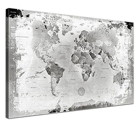 Lana KK - Weltkarte Retro Hellgrau mit Kork Rückwand - edel Leinwand Bild Kunstdruck auf Keilrahmen, Pinnwand für Weltenbummler 60 x 40 cm, einteilig