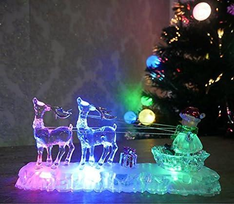 LED à couleur changeante acrylique décoration de Noël Feat. Le Renne Bonhomme de neige sur son traîneau avec ses Détails Chaîne Light Up Bonhomme de neige Décoration de Noël