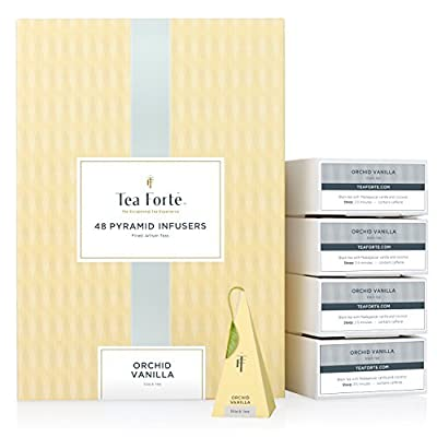 Tea Forté Orchid Vanilla - Thé Noir Vanille Coco - Coffret 48 Pyramides Infuseurs