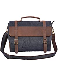 Craft Play Handicraft Black And Brown Color Canvas Laptop Bag/Travel Bag