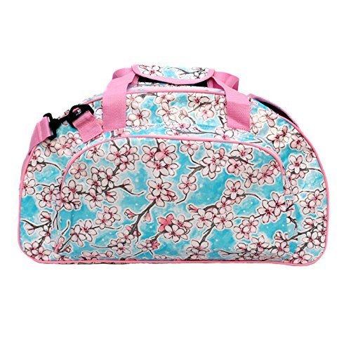 bunte geblümte Sporttasche Schwimmtasche Saunatasche Reisetasche Weekender Umhängetasche aus Wachstuch für Damen, wasserdicht, Retrolook rosa, Hanami
