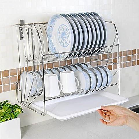 MSRRY Acciaio inossidabile 304 doppia staffa per il montaggio a parete del recipiente da cucina parete rack cestello portastoviglie