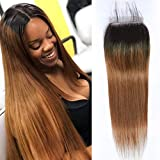 Closure Bresilienne Lisse Closure Frontale 4x4 Top Swiss Lace Bleached Knots Ombre...