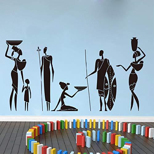 JXND Große Afrikanische Krieger Wandtattoo Sofa Schlafzimmer Tribal Afrikanische Frauen Schönheit Wandaufkleber Wohnzimmer Vinyl Home Decor106cmwidex56cmhigh