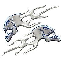 Busirde Chrome Ghost Logo Cabeza del cráneo de la Llama Etiqueta engomada del Coche de la película del Parche del Emblema de la Insignia Calcomanías para Haley