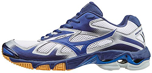Mizuno Wave Bolt, Chaussures de Volleyball Homme, Bleu/Jaune/Blanc Bianco (White/Dazzlingblue/Twilightblue)