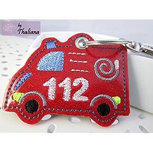 Schlüsselanhänger Feuerwehr rot Anhänger für Kindergartentasche Schulranzen