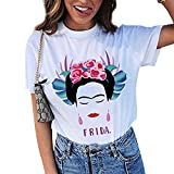 Wefchogvr Womens Frida Kahlo Personalisierte Künstler Sommer Kurzarm T-Shirt (Farbe : White, Größe : S)