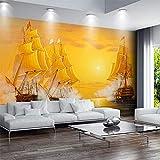 Bizhii Goldenes Ölgemälde Segelschiff Tapete Hintergrund Wandbild 3D, 200 * 140Cm