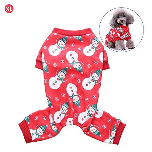 Chen0-super Pet Hund Kleidung Pyjama Jumpsuit Nachtwäsche Nachtwäsche mit Weihnachten Schneemann vierbeinigen Schlafanzüge für Party Geschenk S M L XL
