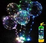 Globos Transparentes con Luces + BOMBONA de Helio - Decoración de cumpleaños, Fiestas, Bodas y comuniones. El Kit Incluye : 1 Bombona Helio + 3 Globos de Latex + 3 Tiras de Luces de Color (Azul)