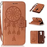 LG K7 Hülle, LG K7 Case, Cozy hut LG K7 (5,0 Zoll) Drucken(Traumfänger)PU Ledercase Tasche Hüllen Schutzhülle Scratch Magnetverschluss Telefon-Kasten Handyhülle Standfunktion Handycover Solide Brown - Brown Campanula